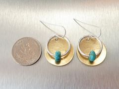 Marjorie Baer Hammerd Brass Disc with Ring and Turquoise Bead Drop Earrings - product images 4 of 7
