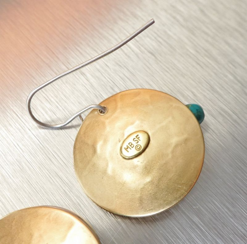 Marjorie Baer Hammerd Brass Disc with Ring and Turquoise Bead Drop Earrings - product image