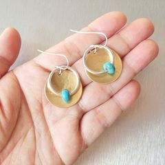 Marjorie Baer Hammerd Brass Disc with Ring and Turquoise Bead Drop Earrings - product images 7 of 7