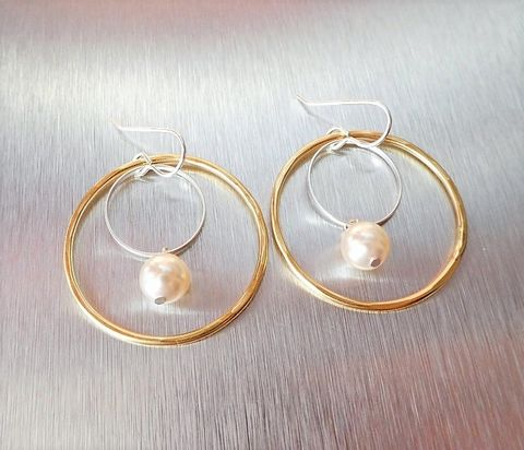 Marjorie,Baer,Large,Double,Rings,with,Cream,Pearl,Drop,Earrings,Marjorie Baer Large Double Rings with Cream Pearl Drop Earrings