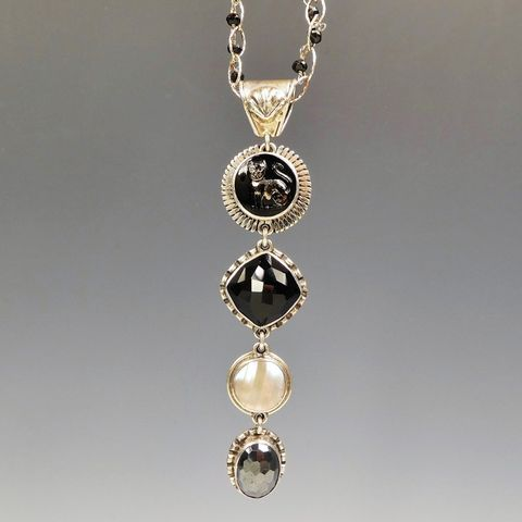 Amy,Kahn,Russell,-,Sterling,Silver,Vintage,Glass,Cat,Button,and,Gems,Long,Pendant,Necklace,Amy Kahn Russell Necklace, Amy Kahn Russell Jewelry, AKR Sterling Silver Vintage Glass Cat Button and Gems Long Pendant Necklace