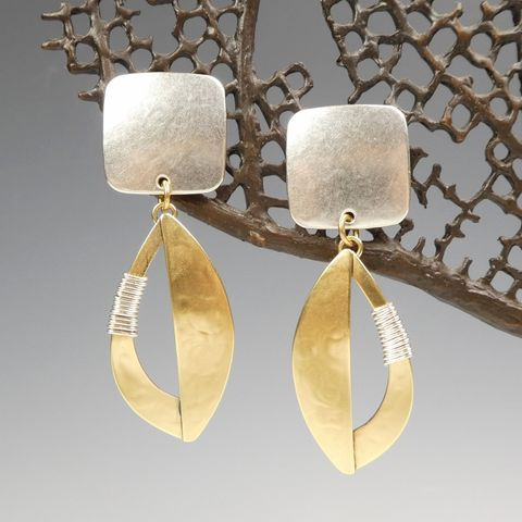 Marjorie,Baer,Square,and,Semi,Cutout,Leaf,with,Wire,Wrapping,Earrings,Marjorie Baer Square and Semi Cutout Leaf with Wire Wrapping Earrings