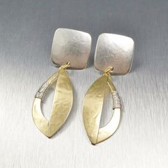 Marjorie Baer Square and Semi Cutout Leaf with Wire Wrapping Earrings - product images 3 of 9