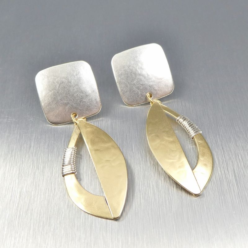Marjorie Baer Square and Semi Cutout Leaf with Wire Wrapping Earrings - product image