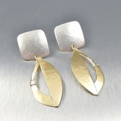 Marjorie Baer Square and Semi Cutout Leaf with Wire Wrapping Earrings - product images 2 of 9
