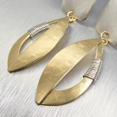 Marjorie Baer Square and Semi Cutout Leaf with Wire Wrapping Earrings - product images 5 of 9