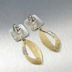 Marjorie Baer Square and Semi Cutout Leaf with Wire Wrapping Earrings - product images 7 of 9