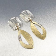 Marjorie Baer Square and Semi Cutout Leaf with Wire Wrapping Earrings - product images 8 of 9