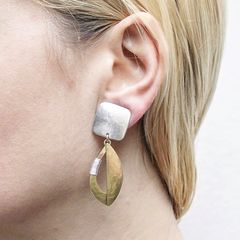 Marjorie Baer Square and Semi Cutout Leaf with Wire Wrapping Earrings - product images 4 of 9