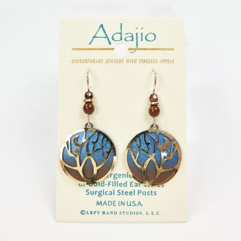 Adajio,Earrings,-,Shiny,Gold,Plated,Tree,Over,Blue,Night,Sky,Disc,Adajio 7940, Adajio Earrings, Adajio earrings Sienna Sky, Etched Brass Earrings, Artisan Handmade