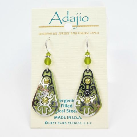 Adajio,Earrings,-,Green,Teardrop,with,Shiny,Silver,Tone,Overlay,and,Pearl,Cabochon,Adajio 7932, Adajio Earrings, Adajio earrings Sienna Sky, Etched Brass Earrings, Artisan Handmade