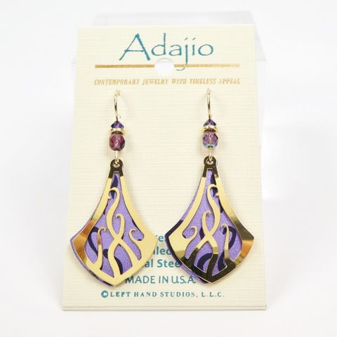 Adajio,Earrings,-,Purple,Teardrop,with,Shiny,Gold,Plated,Overlay,Adajio 7942, Adajio Earrings, Adajio earrings Sienna Sky, Etched Brass Earrings, Artisan Handmade