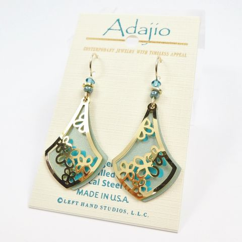 Adajio,Earrings,-,Pale,Sage,Green,Teardrop,with,Shiny,Gold,Plated,Floral,Overlay,Adajio 7949, Adajio Earrings, Adajio earrings Sienna Sky, Etched Brass Earrings, Artisan Handmade