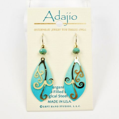 Adajio,Earrings,-,Blue,and,Aqua,Teardrop,with,Shiny,Gold,Plated,Swirl,Overlay,Adajio 7931, Adajio Earrings, Adajio earrings Sienna Sky, Etched Brass Earrings, Artisan Handmade