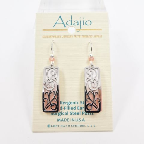 Adajio,Earrings,-,White,and,Pink,Column,with,Shiny,Silver,Tendrils,Adajio 7941, Adajio Earrings, Adajio earrings Sienna Sky, Etched Brass Earrings, Artisan Handmade