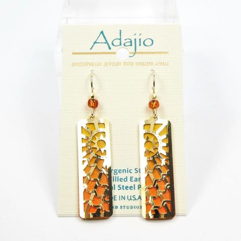 Adajio,Earrings,-,Orange,Column,with,Shiny,Gold,Plated,Sunburst,Overlay,Adajio 7947, Adajio Earrings, Adajio earrings Sienna Sky, Etched Brass Earrings, Artisan Handmade