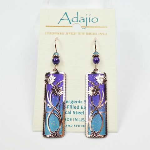 Adajio,Earrings,-,Purple,to,Blue,Ombre,Column,with,Rose,Gold,Daisies,Overlay,Adajio 7933, Adajio Earrings, Adajio earrings Sienna Sky, Etched Brass Earrings, Artisan Handmade