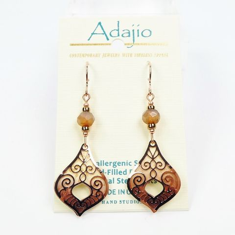 Adajio,Earrings,-,Taupe,Teardrop,with,Shiny,Rose,Gold,Plated,Moroccan,Overlay,Adajio 7939, Adajio Earrings, Adajio earrings Sienna Sky, Etched Brass Earrings, Artisan Handmade
