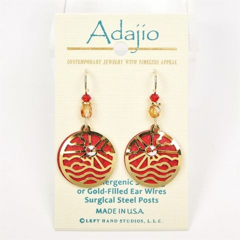 Adajio,Earrings,-,Bright,Red,Disc,with,Shiny,Gold,Plated,Sunrise,Overlay,Adajio 7954, Adajio Earrings, Adajio earrings Sienna Sky, Etched Brass Earrings, Artisan Handmade