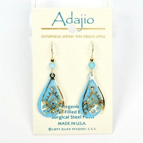 Adajio,Earrings,-,Blue,Teardrop,with,Shiny,Gold,Plated,Overlay,Adajio 7953, Adajio Earrings, Adajio earrings Sienna Sky, Etched Brass Earrings, Artisan Handmade