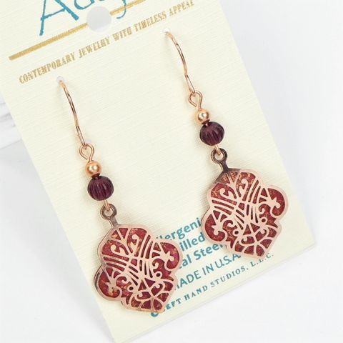Adajio,Earrings,-,Rose,Gold,Deco,Cutout,Design,with,Brown,Back,Adajio Earrings, Adajio earrings Sienna Sky, Adajio Jewelry, Adajio Colorado, Adajio 7929
