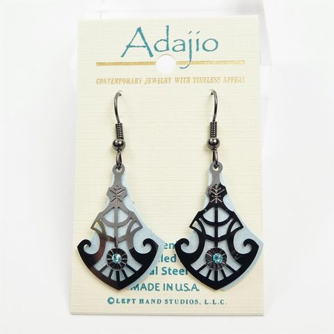 Adajio,Earrings,-,Light,Blue,Teardrop,with,Shiny,Hematite,Deco,Overlay,Adajio 7951, Adajio Earrings, Adajio earrings Sienna Sky, Etched Brass Earrings, Artisan Handmade