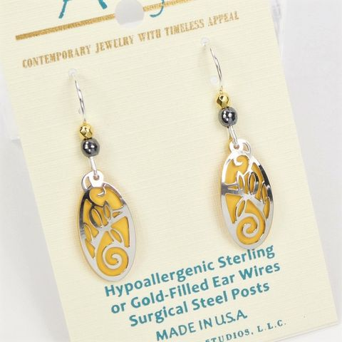 Adajio,Earrings,-,Small,Yellow,Oval,with,Shiny,Silver,Swirls,Overlay,Adajio 7955, Adajio Earrings, Adajio earrings Sienna Sky, Etched Brass Earrings, Artisan Handmade