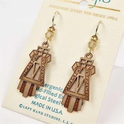 Adajio,Earrings,-,Aztec,Taupe,and,Brown,Layered,Design,Adajio 7930, Adajio Earrings, Adajio earrings Sienna Sky, Etched Brass Earrings, Artisan Handmade