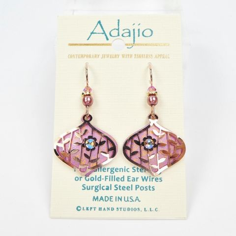 Adajio Earrings Shiny Silver Tone Windmill Pattern with Pink Cabochon Made in US
