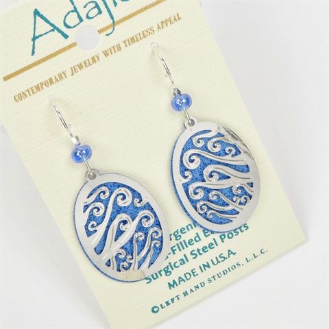 Adajio,Earrings,-,Blue,Oval,with,Shiny,Silver,Swirls,Overlay,Adajio 7935, Adajio Earrings, Adajio earrings Sienna Sky, Etched Brass Earrings, Artisan Handmade