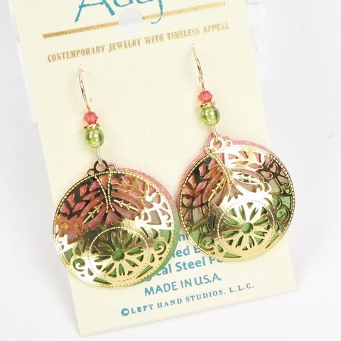 Adajio,Earrings,-,Large,Disc,in,Coral,and,Olive,with,Shiny,Gold,Tone,Deco,Overlay,Adajio 7957, Adajio Earrings, Adajio earrings Sienna Sky, Etched Brass Earrings, Artisan Handmade