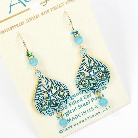 Adajio,Earrings,-,Blue,Cutout,Design,over,Shiny,Gold,Plated,Teardrop,with,Dangling,Bead,Adajio 7950, Adajio Earrings, Adajio earrings Sienna Sky, Etched Brass Earrings, Artisan Handmade