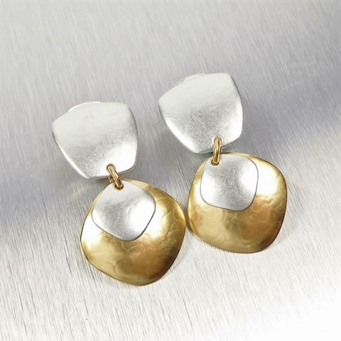 Marjorie,Baer,Tapered,Square,with,Layered,Rounded,Diamond,Shapes,Earrings,Marjorie Baer, Brass Earrings, MBSF, Handmade Earrings