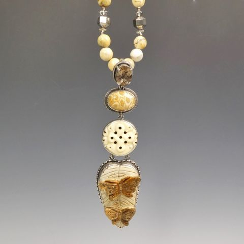 Amy,Kahn,Russell,-,Large,Sterling,Silver,Carved,Jasper,Butterfly,Pendant,on,Fossilized,Coral,Beaded,Strand,Necklace,Amy Kahn Russell Necklace, Amy Kahn Russell Jewelry, Amy Kahn Russell  Large Sterling Silver Gemstone Pendant on Long Pyrite Beaded Strand Necklace