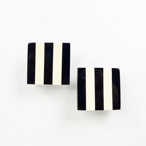Monies,-,Black,White,Striped,Square,Clip,Earrings, Monies Earrings, Monies Denmark, Monies Jewelry
