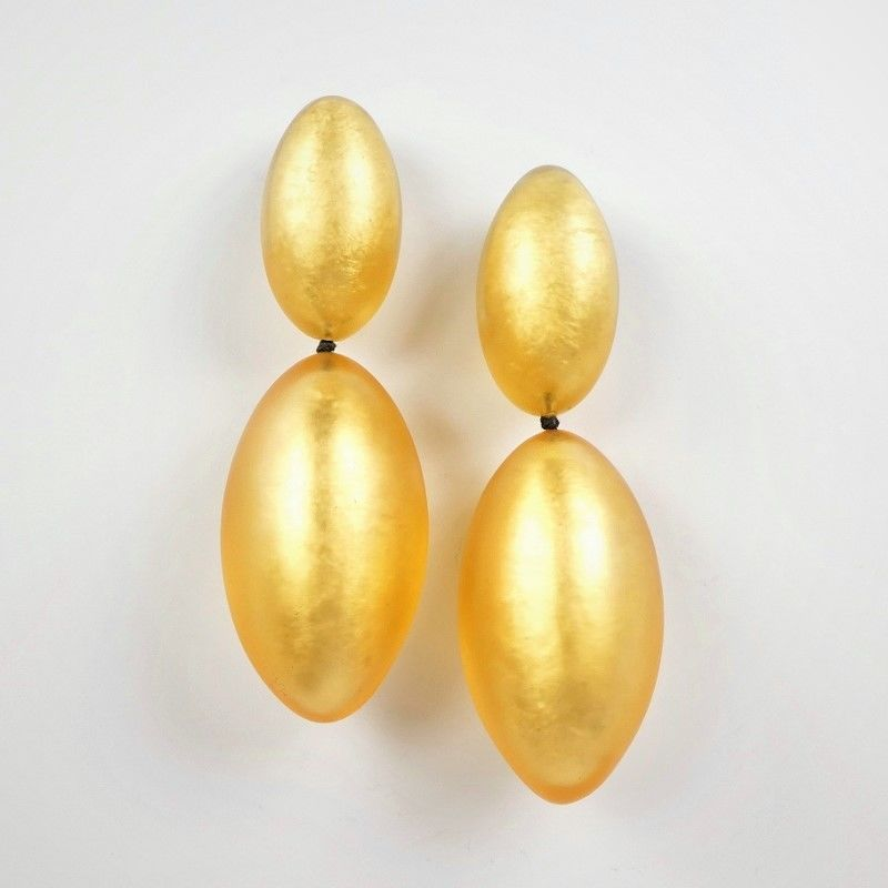Monies - Gold Leaf Linked Egg Shapes Clip Earrings - product image