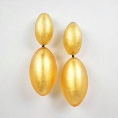 Monies - Gold Leaf Linked Egg Shapes Clip Earrings - product images 1 of 5