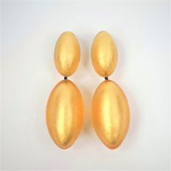 Monies - Gold Leaf Linked Egg Shapes Clip Earrings - product images 2 of 5