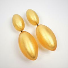 Monies - Gold Leaf Linked Egg Shapes Clip Earrings - product images 3 of 5