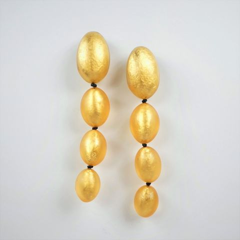 Monies,-,Gold,Leaf,Cascading,Egg,Shapes,Clip,Earrings, Monies Earrings, Monies Denmark, Monies Jewelry