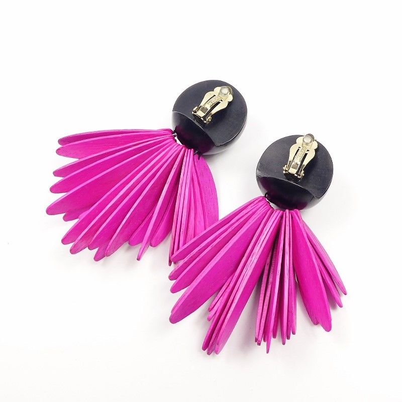 Monies - Black Ebony Ball with Pink Double Layered Fringe Clip Earrings - product image