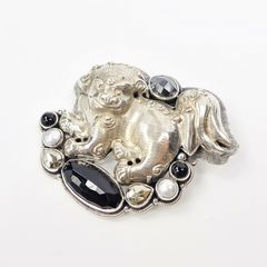 Amy Kahn Russell - Large Sterling Silver Chinese Foo Dog Lion Pin Pendant - product images 3 of 11