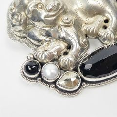 Amy Kahn Russell - Large Sterling Silver Chinese Foo Dog Lion Pin Pendant - product images 6 of 11
