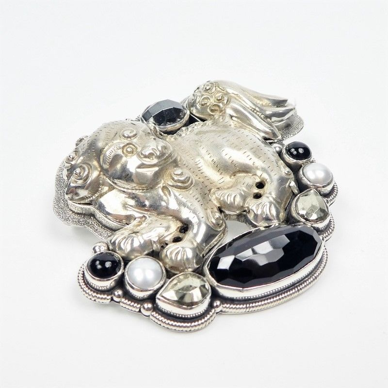 Amy Kahn Russell - Large Sterling Silver Chinese Foo Dog Lion Pin Pendant - product image