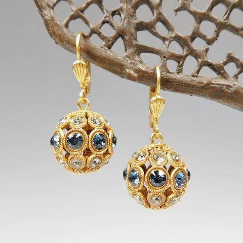 Catherine,Popesco,'Midnight',Crystal,Encrusted,Orb,Ball,Earrings,Catherine Popesco Earrings, La Vie Parisienne Earrings, Catherine Popesco Jewelry, Catherine Popesco Paris