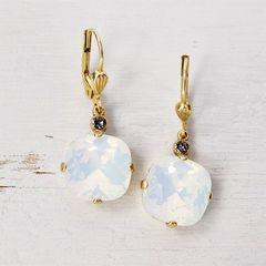 Catherine Popesco Large Crystal Earrings in White Opal - product images 2 of 4