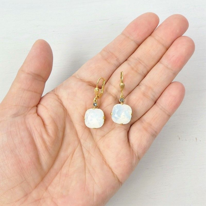 Catherine Popesco Large Crystal Earrings in White Opal - product image
