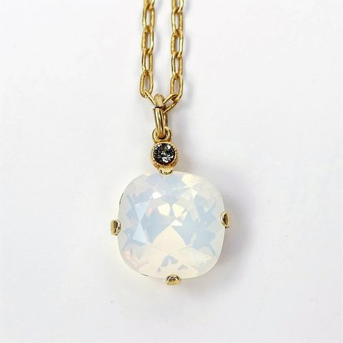 Catherine,Popesco,Round,Crystal,Pendant,Necklace,in,White,Opal,La Vie Parisienne Necklace, Catherine Popesco Jewelry, Catherine Popesco Paris