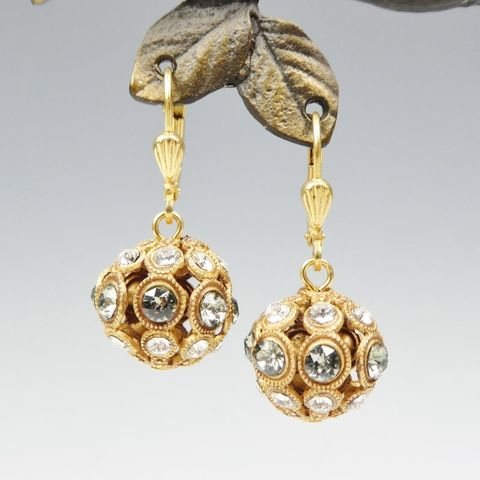 Catherine,Popesco,Crystal,Encrusted,Orb,Ball,Earrings,in,Clear,and,Black,Diamond,Catherine Popesco Earrings, La Vie Parisienne Earrings, Catherine Popesco Jewelry, Catherine Popesco Paris