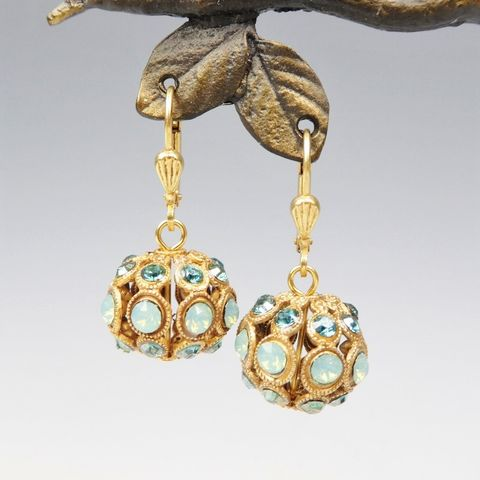 Catherine,Popesco,Pacific,Opal,and,Teal,Crystal,Encrusted,Orb,Ball,Earrings,Catherine Popesco Earrings, La Vie Parisienne Earrings, Catherine Popesco Jewelry, Catherine Popesco Paris